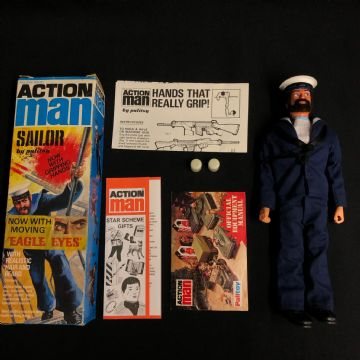 "ACTION MAN SAILOR with ""NOW WITH MOVING EAGLE EYES"" - Sticker Box."